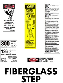 Fiberglass Step   Ladder Safety Labels