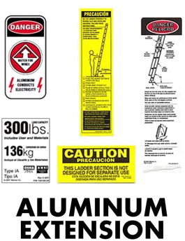 Aluminum Extension Ladder Safety Labels