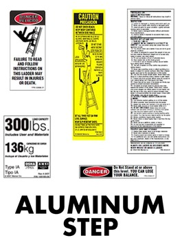 Aluminum Step Ladder Safety Labels